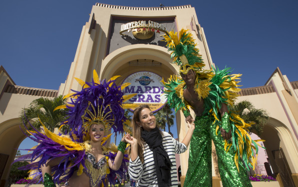 Latin Grammy award-winning singer and songwriter Ivete Sangalo visited Universal Orlando Resort with her family to enjoy their vacation. The Brazilian carnival queen posed with Universal Orlando's Mardi Gras performers to honor the festivities. Sangalo has been a part of Brazil's carnival celebrations for over 20 years.   During her visit, the superstar also enjoyed the thrills of speeding coasters and made epic memories with her family.   On select nights through April 16, guests can top off their day in the theme parks with a family-friendly version of the famed New Orleans celebration at Universal Studios Florida – featuring delicious Cajun cuisine, a dazzling parade and 14 nights of exhilarating concerts from some of the biggest names in music. This year's Mardi Gras parade features 12 vibrant floats, including four new additions that celebrate different cultures and festivals from around the world – Venetian Carnival, Oktoberfest, 4th of July and Rio de Janeiro Carnival.   © 2016 Universal Orlando Resort. All rights reserved.